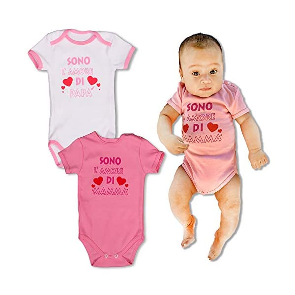 Repanda Body Neonato Divertenti - 2 Dolci Idee Regalo: Sono l'amore di Mamma e Papà - 100% Cotone - Body Manica Corta 7