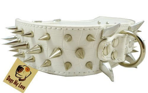 "19""-23.5"" White Faux Croc Leather Spiked Dog Collar 2"" Wide, 40 Large Spikes"