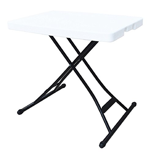 Alextend 26-Inch by 18-Inch Adjustable Folding Table, White