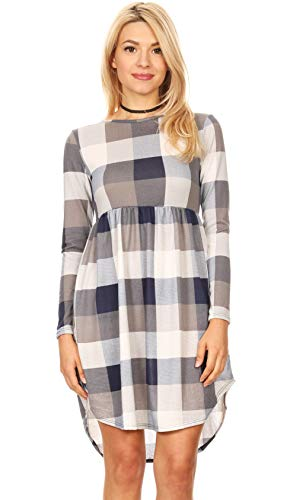 Navy Grey and White Plaid Casual Flare Dresses for Women Checkered Shirt Dress (Size Large US 8-10, Navy Plaid) (Navy Dress Gingham)