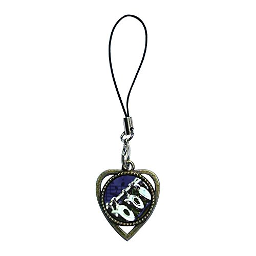 GiftJewelryShop Ancient Bronze Retro Style Flute Music Photo Heart Shaped Strap Hanging Chain for Phone Cell Phone Charm