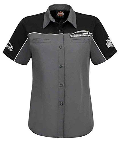 Harley-Davidson Women's Screamin' Eagle Shadow Crew Shirt, Gray HARLLW0011 - Shirt Striped Wisconsin