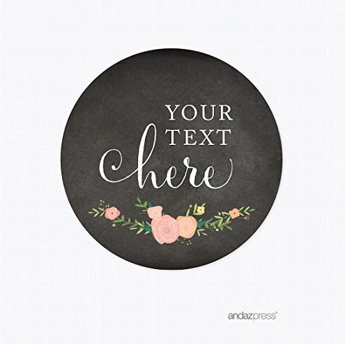 Andaz Press Chalkboard Floral Party Wedding Collection, Round Circle Gift Tags, Personalized Your Text Here, 24-Pack, Custom Name