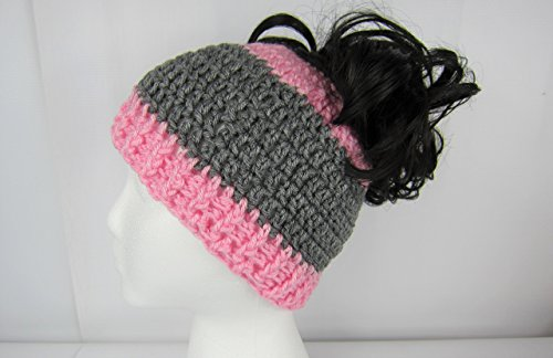 Messy Bun Hat, Crochet Messy Bun Beanie, Crochet Pony Tail Hat, Pink and Grey, Runner's hat, cheerleaders hat, Women's, teen ponytail hat, Juniors, Adult winter hat, Handmade