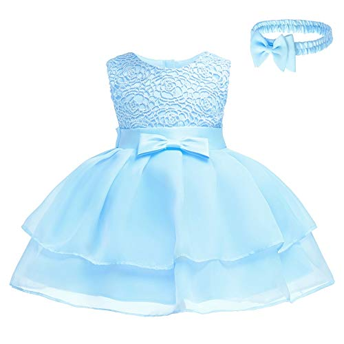 (Toddler Baby Girls Embroidered Christing Pageant Birthday Party Baptismal Dress with)