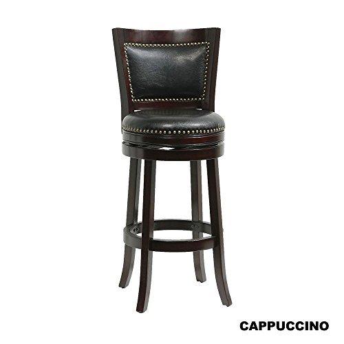 Mintra Bristol Upholstered 30 Inch Swivel Bar Stool (30, Cappuccino) (Stool Brass Oak Bar)