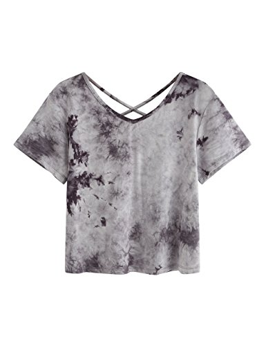 (SweatyRocks Women's Tie Dye Print Crop Top T Shirt Short Sleeve ,Grey #1,XX-Large=XL)