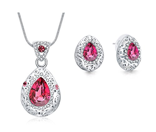 Majesto Jewelry Set - Pink Teardrop Necklace Pendant Earrings for Women Teen Little Girls - Prime Gift 18K Gold Plated