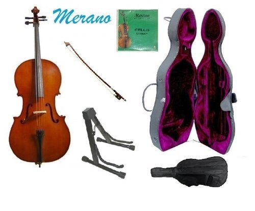 Merano 3/4 Size Cello with Hard Case, Bag and Bow+2 Sets of Strings+Black Cello Stand+Rosin by Merano