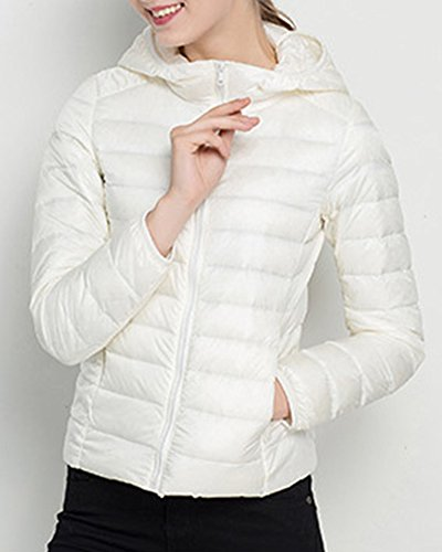 Femme Courte D'hiver Veste Blouson Capuche Chaude A Doudoune Blanc Sport 8nnwqTERZ