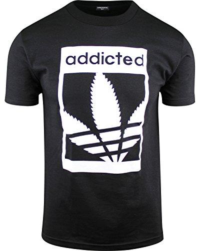 - Mens Marijuana Enthusiast Weed Shirts (Addicted Black, S)