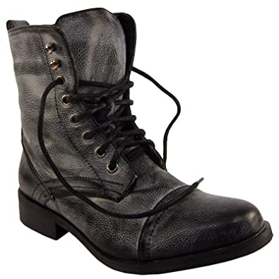 Womens Distressed Black Military Boots  Amazon.co.uk  Shoes   Bags 094c0723f