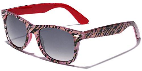 Retro Ladies Fashion Glitter Wayfarer Sunglasses - Zebra Frame Print - Red