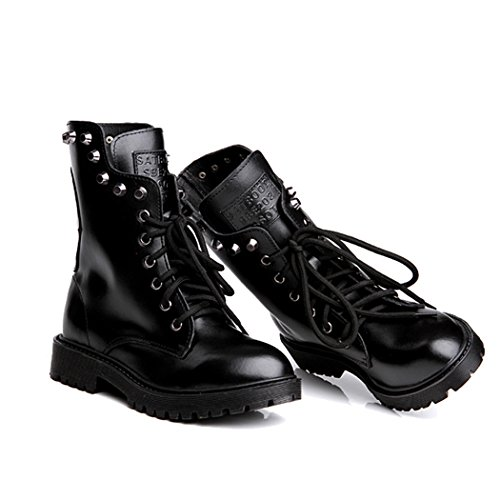 Autumn Melody Retro Women Martin Boots British Style Personalized Rivet Short Boots Size 8 US Black (Browder Time Machine compare prices)