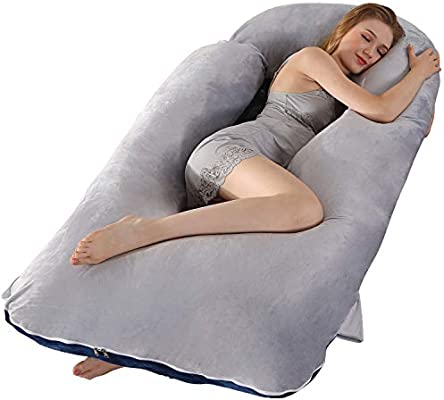 BATTOP Full Body Pregnancy Pillow G-Shaped Maternity Pillow Removable for Sleeping with Nursing Baby Design Support for Back Belly Hips Legs Gray /& Navy Blue