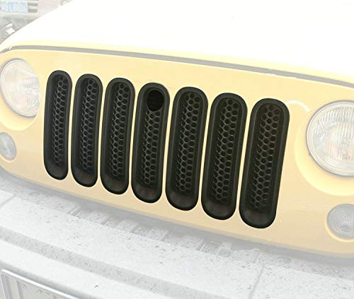 Bolaxin [Upgrade Clip in Version] Black Matt Front Grill Mesh Grille Insert with Key hole Fit Mopar hood lock for Jeep Wrangler Jk Rubicon Sahara & Unlimited 2007-2015 -7pcs