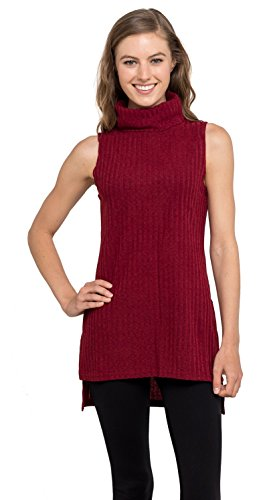 Womens Turtleneck Tunic Tank Top - Sleeveless Ribbed Sweater, Velucci (Burgundy L)