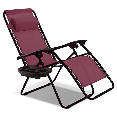 Goplus Folding Zero Gravity Reclining Lounge Chairs Outdoor Beach Patio W/Utility Tray ()