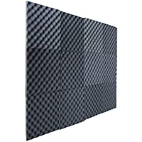 "12 Pack Charcoal Slim egg crate foam acoustic foam tiles soundproofing foam panels sound insulation soundproof foam padding sound dampening Studio sound proof padding 1"" x 12"" x 12"""