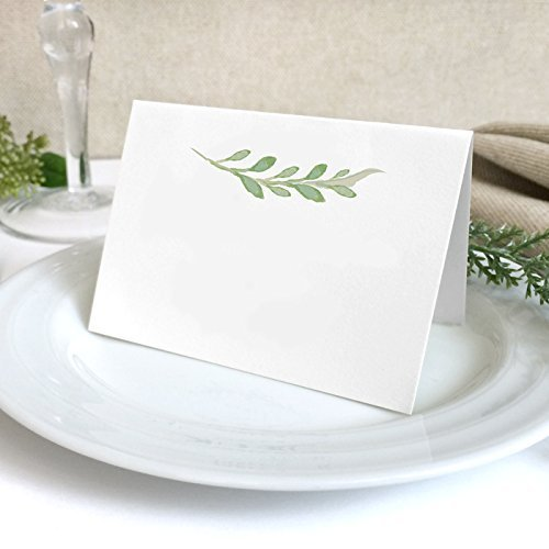 40 pack white greenery wedding place cards blank green florals wedding escort cards - Wedding Place Cards