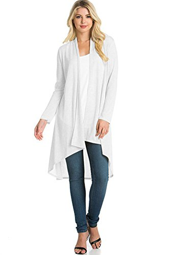 Modern Kiwi Solid Essential Long Cascading Cardigan White Extra Large ()