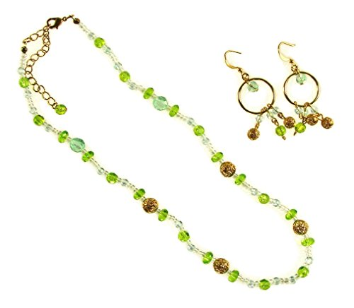 Carol for Eva Graham Crystal Beaded Hoop Drop Earring and Necklace Set; Green