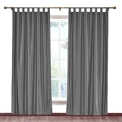 cololeaf Vintage Textured Faux Dupioni Silk Curtain Tab Top for Traverse Rod Or Track, Living Room Bedroom Meetingroom Club Theater Patio Door,Dark Grey 100W x 84L Inch (1 panel) (Dupioni Silk Drapes Striped)