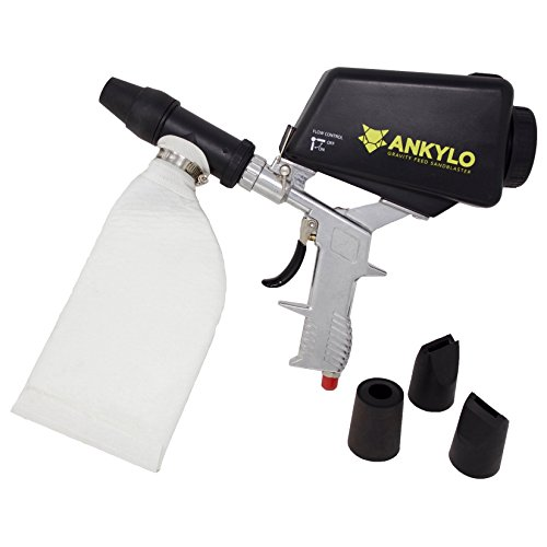 Spot Blaster (Gravity Sandblaster Gun - Handheld and Portable - Includes Bonus Spot Blaster Sandblasting Kit with 4 Tips - for Automotive, Hobby, Craft, and DIY)
