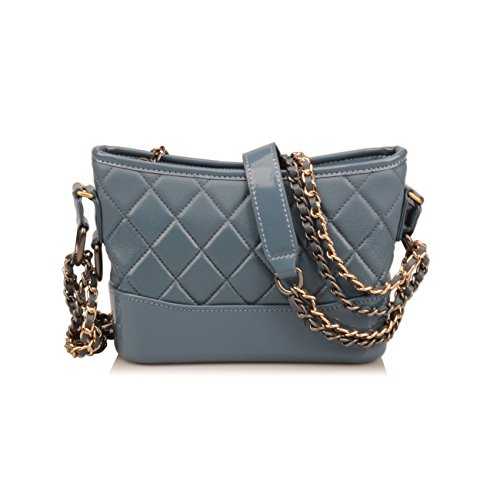 Purse Crossbody Phone Grey Women's Quilted Ainifeel With Wallet Bag Cell Genuine Chain Blue B Leather Strap faqFp