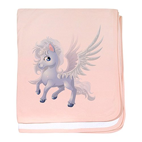 Truly Teague Baby Blanket Cartoon White Winged Pegasus - Petal Pink by Truly Teague