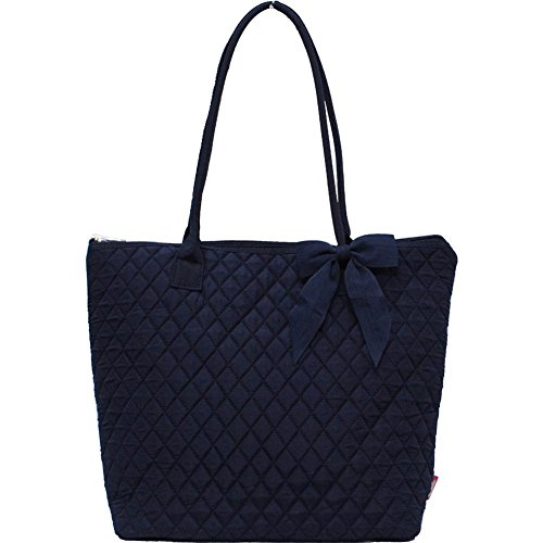 Ngil Quilted Cotton Medium Tote Bag 2018 Spring Collection (Solid Navy Blue) - Solid Quilted Bag