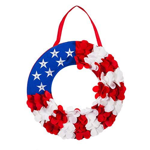 - Evergreen Flag Patriotic Wreath Lit Burlap Door Decor