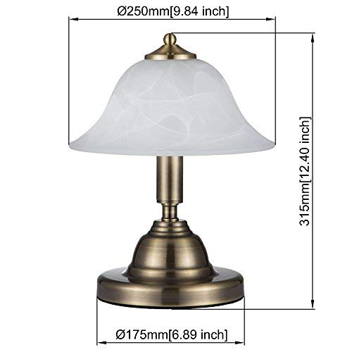 JINZO Touch Table Lamps Desk Lamp Night Stand Lamps for Bedrooms Dimmable Antique Brass Finish-Large Size Pack of 1