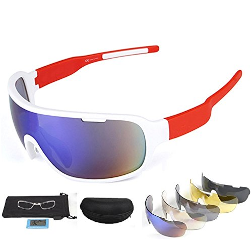 Lorsoul Polarized Sports Sunglasses UV400 With 5 Interchangeable Lenes for Men Women Cycling Running Driving Fishing Golf Baseball Glasses (White/Red)