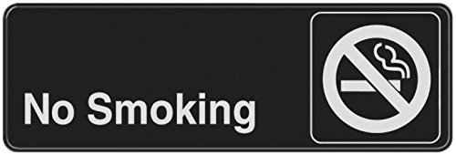 (Hillman 841752 No Smoking Visual Impact Self Adhesive Sign, Black and White Plastic, 3x9 Inches 1-Sign )