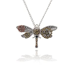 Joji Boutique Steampunk Collection: Mix-tone Dragonfly Pendant Necklace