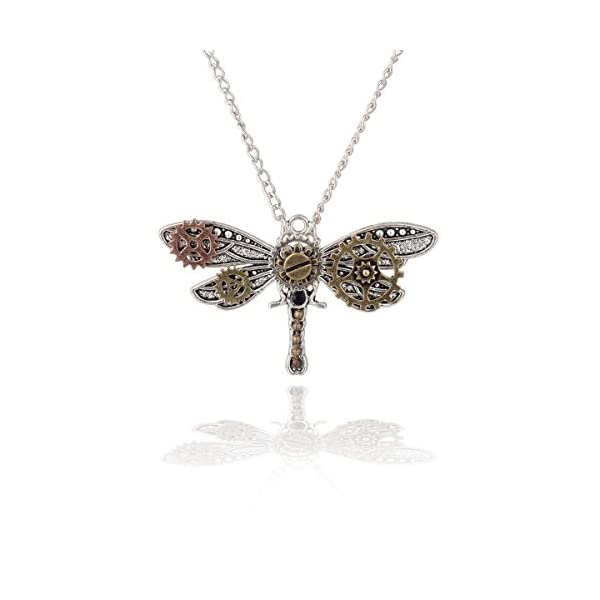 Joji Boutique Steampunk Collection: Mix-Tone Dragonfly Pendant Necklace 2