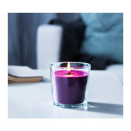 IKEA SINNLIG - Scented candle in glass, Full blossom, lilac - 7,5 cm