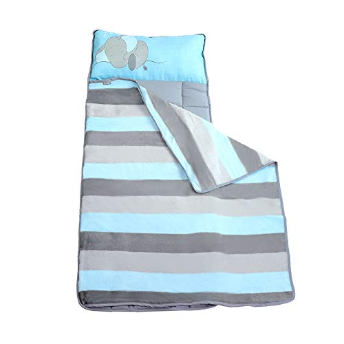 Toddler Nap Mats for Preschool Kinder Daycare - Blanket + Pillow for Boys or Girls - Foldable Comfy Cover (Baby Elephant)
