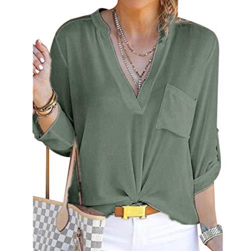 Manica Sexy Top a V Camicetta Donna con Green Maniche Lunga a in da S Casual Scollo 5XL Camicia a Army Lunghe Juleya Chiffon qAaUwn0