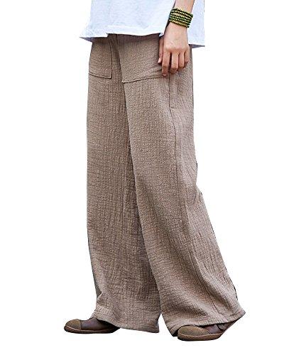 Dritto Beige Elastica Cotone In Morbidi Vita OneSize E Runyue Stile Cachi Basic Colore Retro Donna Pantaloni Pantaloni Lino Puro 0aPxqtA