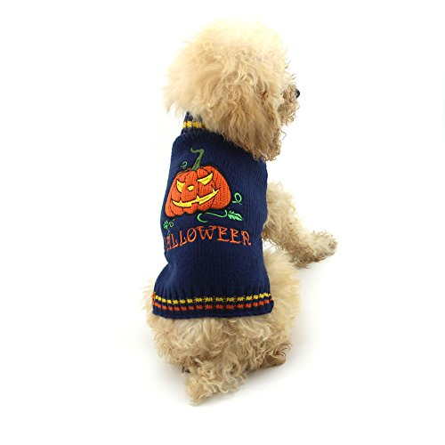 NACOCO Dog Sweater Pumpkin Pet Sweaters Halloween Holiday Party Smiling Face Devil for Cat and Puppy (L) -