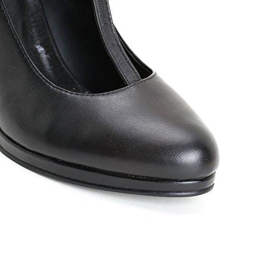 Alesya Scarpe&Scarpe - Zapatos de Salón con T-Bar y Doble Correa, de Piel - 39,0, Negro