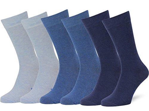 Easton Marlowe Men's Classic Cotton Solid Color Dress/Crew Socks - 6pk #3-4, Light blue, Denim, Indigo, Solid, Flat Knit - 43-46 EU shoe size (Classic Flat Knit Sock)