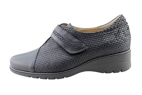 Chaussure Velcro Cuir PieSanto Amples Black Confort Confortables Femme en Negro 175962 YddwpA
