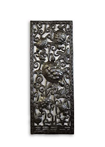 Handcrafted Octopus Sea Wall Decor Fair Trade from Haiti, Recycled Metal Art, Decorative Hanging Art, 11 in. x 29 in. (Sea Turtles)