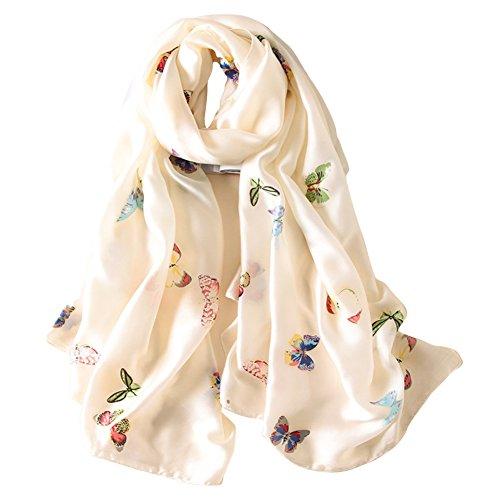- Alice Women Classy Silk Gorgeous Butterfly Print Long Scarf Shawls Wraps Beige