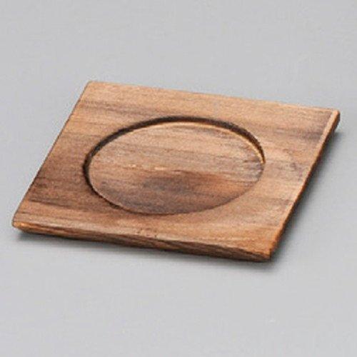 Korean hot pot - Wooden pot stand size [ 90 x 90 x 10mm ] Yakisugi square tea Japanese dish plates traditional oriental ()