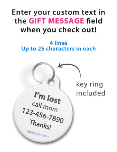 Dog Tag Art Custom Pet ID Tag for Dogs - I Have Diabetes - Small - .875 inch