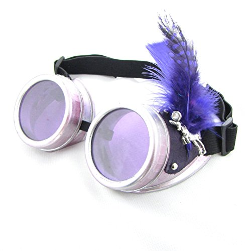 Steampunk Boho Goggles in Purple Feathers Unicorns - Luna Eyewear